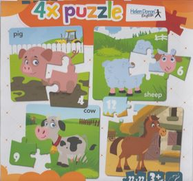 4x puzzle Pig, sheep, cow, horse